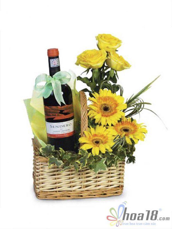 Hoa và rượu sinh nhật